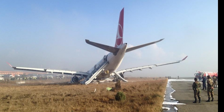 Turkish Airlines airbus averts disaster at TIA when the plane skids off runway.